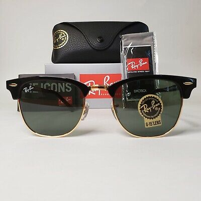 RAY-BAN Classic CLUBMASTER Black 51 mm Sunglasses G-15 Green Lens RB3016