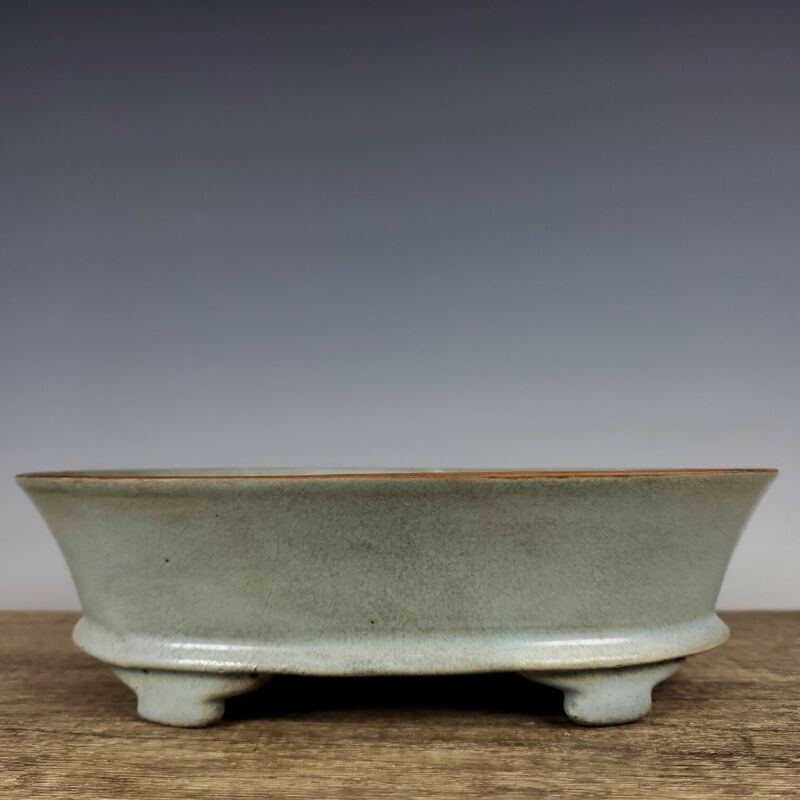 "8.7""Old Song dynasty Porcelain Ru kiln museum mark Ice crack four foot Flowerpot"