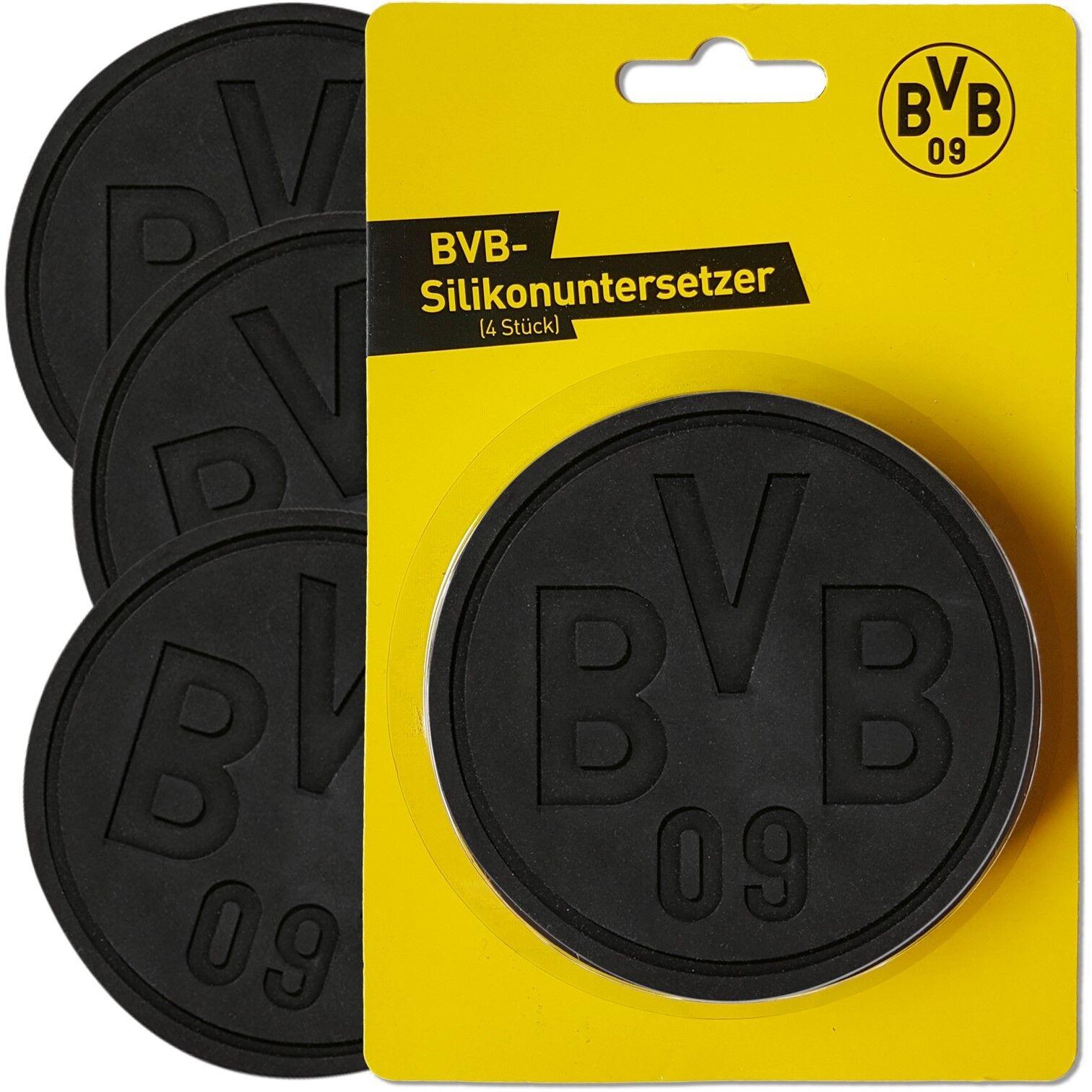 "/""Logo/"" Borussia Dortmund 4Stück BVB Silikonuntersetzer"