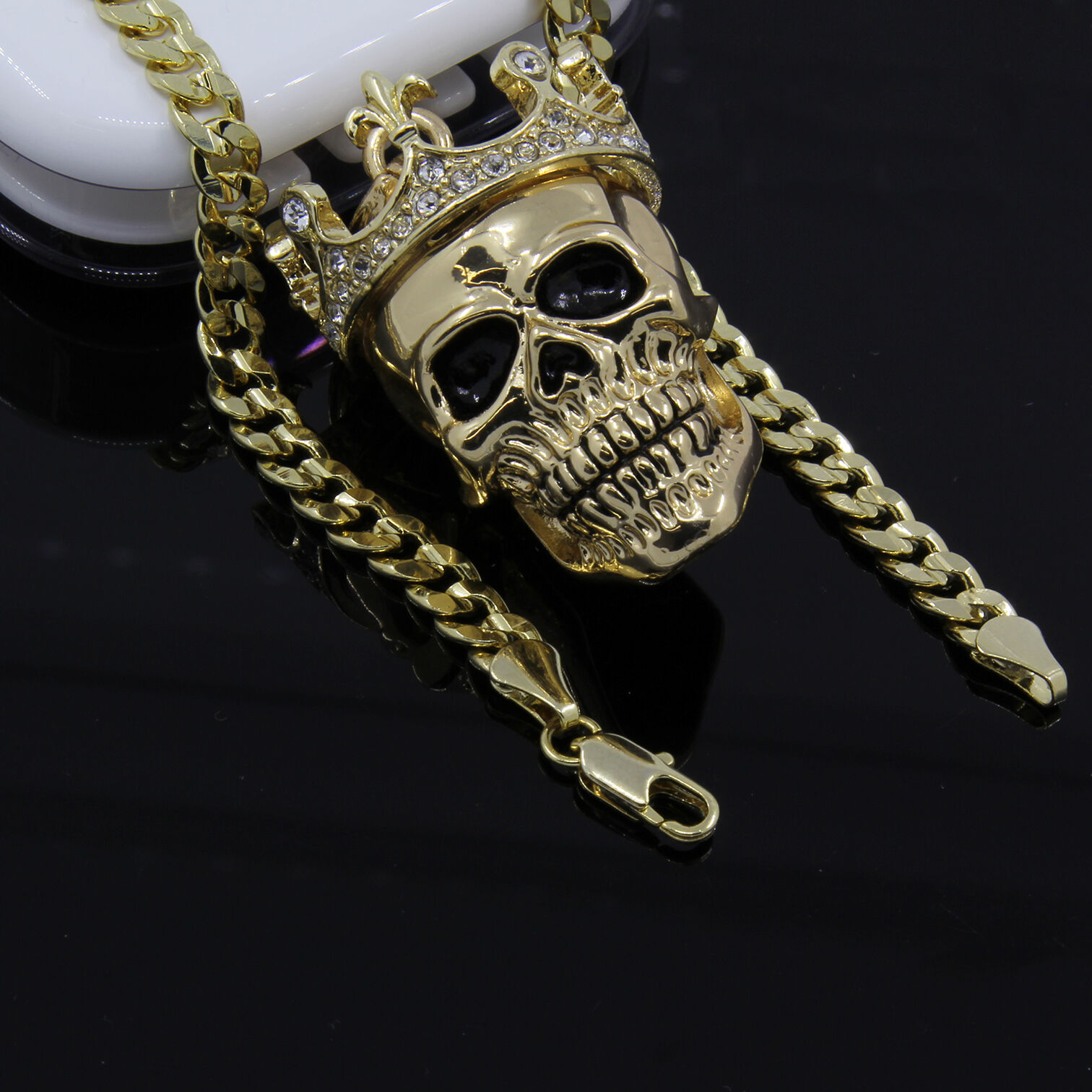 "Men's Gold Plated King Head Skull Pendant 24"" Cuban Chain Hi"