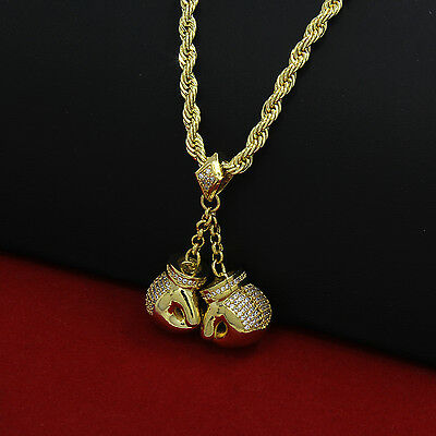 Mens 14k Gold Plated Hip-Hop Boxing Gloves Pendant 24