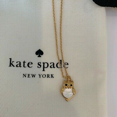 Kate Spade New York Star Bright Owl Mini Pendant Necklace mother of pearl, gold