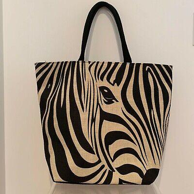 YAMAMAY Zebra Large Beach Tote Shoulder Bag 100% Jute Fabric Black White CHIC