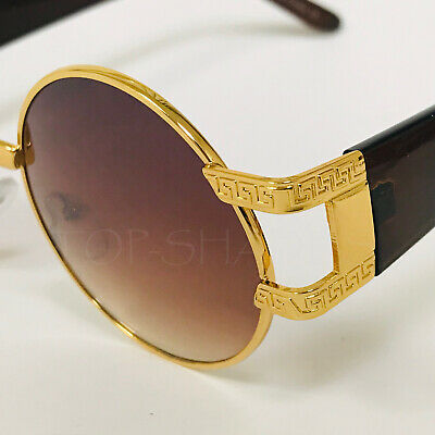 Round Fashion Retro Vintage New Designer Shades  Gold Metal Men Women Sunglasses](Blue Sunglasses)