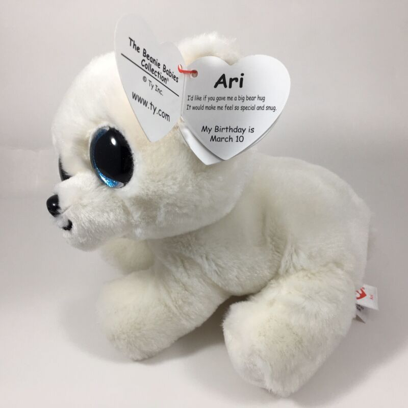 "New 2020 TY Beanie Baby 6/"" ARI White Polar Bear Stuffed Animal Plush Toy MWMTs"