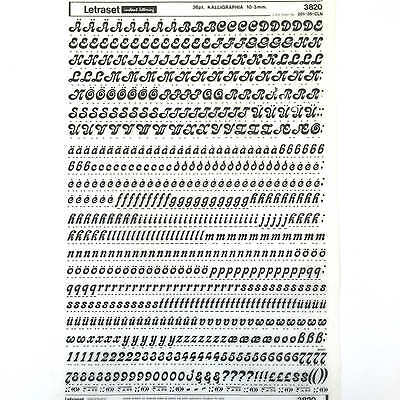 NEW & UNUSED SHEET LETRASET RUB ON TRANSFER LETTERS 36pt Kalligraphia 10.3mm
