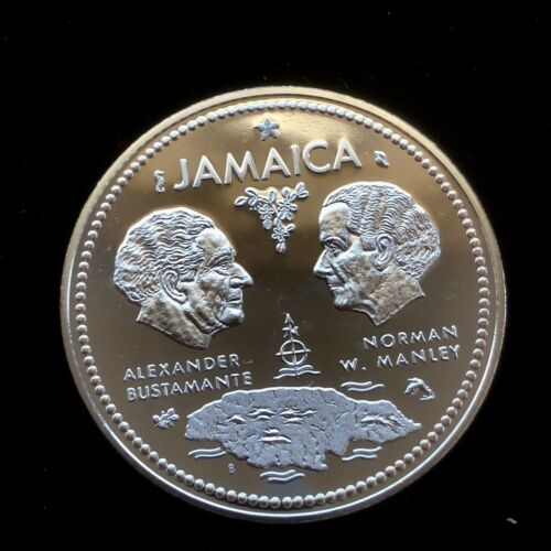 1972 Jamaica 10 Dollar Frosted Proof .925 Sterling Silver 1.463 ASW