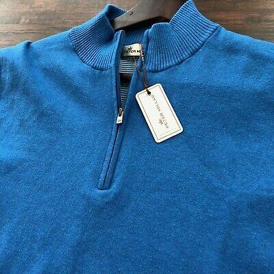BNWT Peter Millar Men's Shelby 1/4 Zip Sweater Vest Blue Size Medium $175