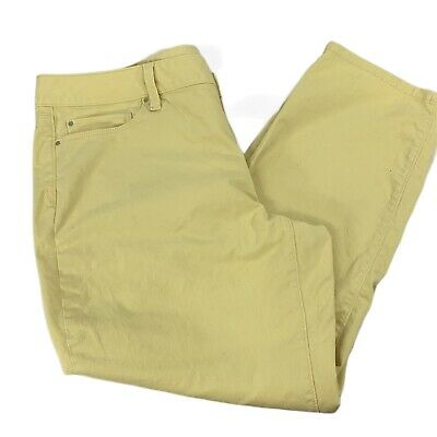Ann Taylor Capris Size 16 Curvy Pants Yellow Cotton Stretch Pockets Flat Front