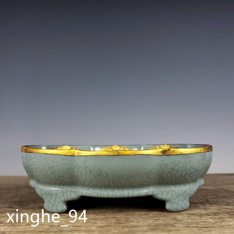 "7.7""China Song dynasty Porcelain ru kiln gilt inlay Gem four foot lace Flowerpot"