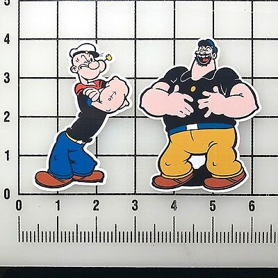 "Popeye and  Bluto 4"" Tall Vinyl Decal Sticker Set"