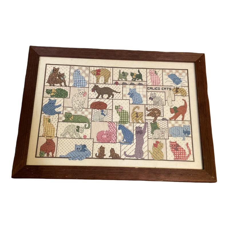 VTG Completed Cross Stitch Calico Cats Sampler Finished Framed Counted 18 x 12.5