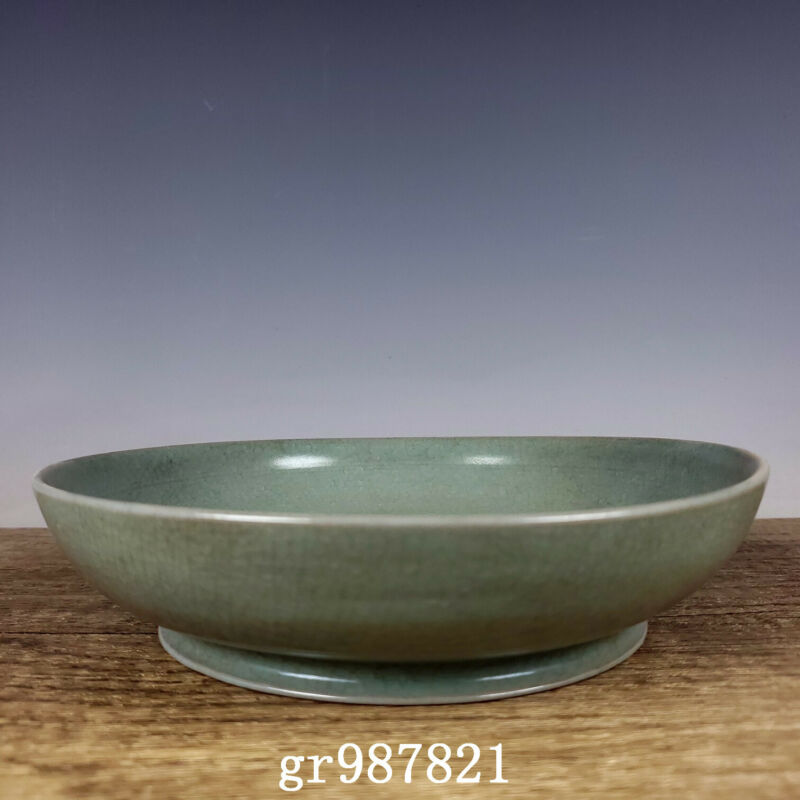 "7.4"" Chinese Porcelain Song dynasty ru kiln cyan glaze museum mark Brush Washer"