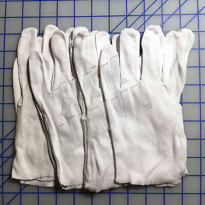 4 Pair Of Thin White Cotton Work Inspection Gloves