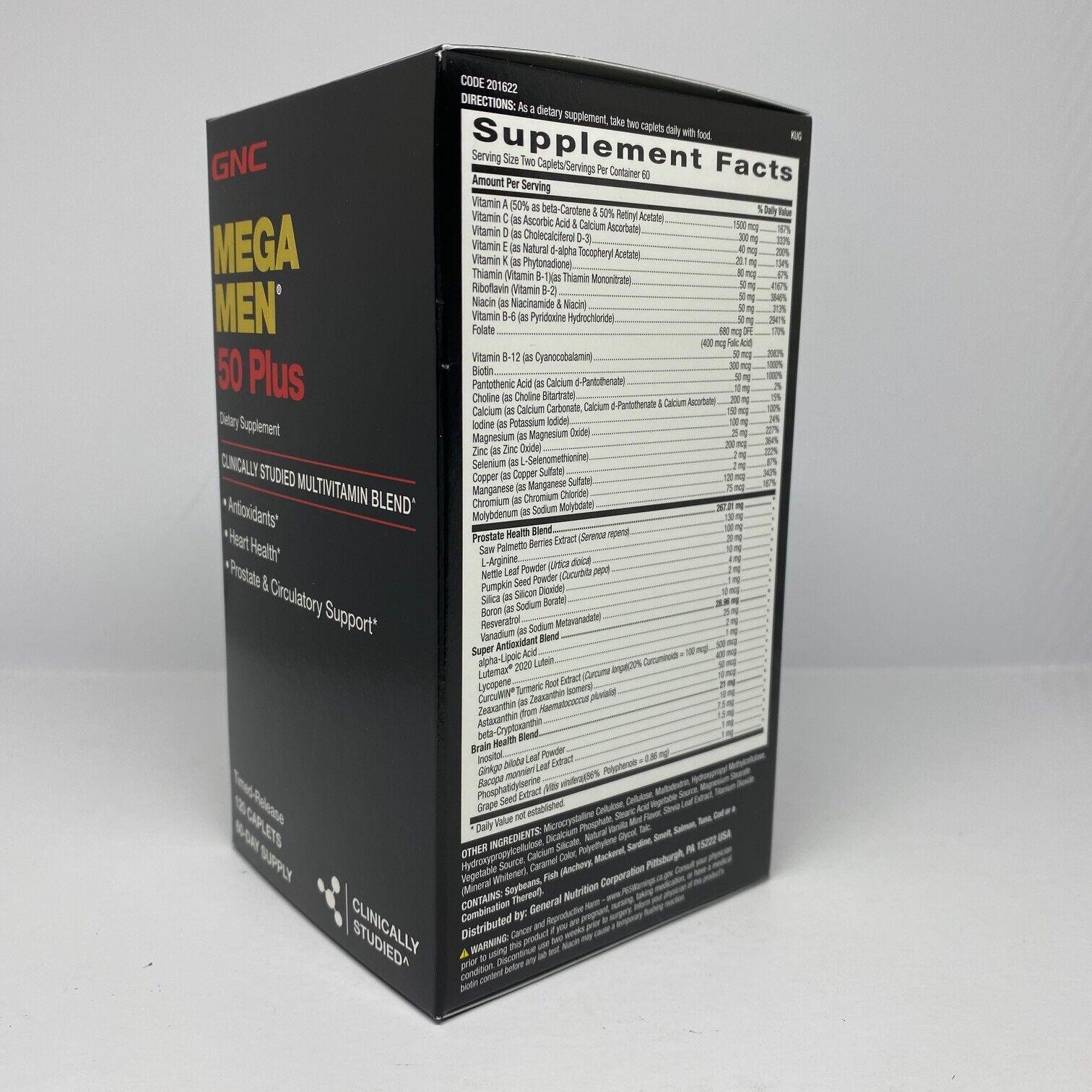 GNC Mega Men 50 Plus 120 Caplets  Free Shipping 1