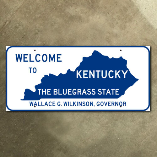 Kentucky state line highway marker road sign 1987 Bluegrass State 26 x 12