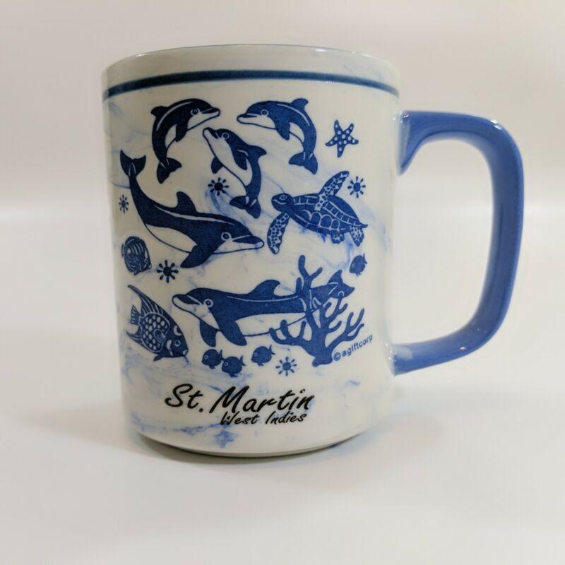 St Martin Souvenir Coffee Mug Caribbean West Indies Marble Print Dolphin Turtle