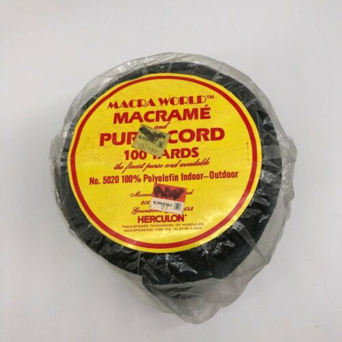 Vintage Braided Cord Macrame Rope Black 100 Yards 6 mm SEALED Roll