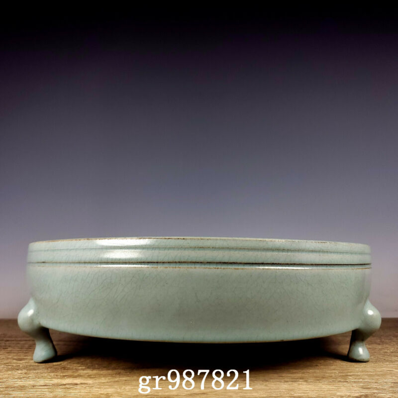 "12.8"" Antique Porcelain Song dynasty ru kiln cyan glaze SongHuiZong Brush Washer"
