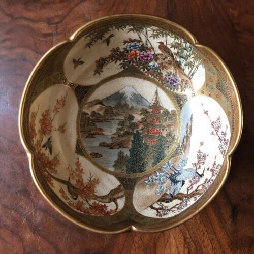 Japanese Signed Satsuma Hand Painted Ware Bowl with Gold Accents