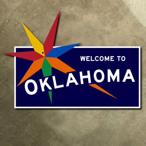 Oklahoma state line highway marker road sign 1957 33 x 24 star burst