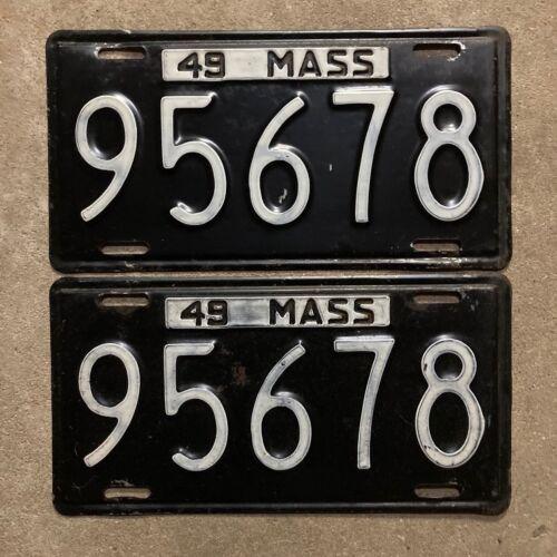 Massachusetts 1949 license plate pair 95678 1950