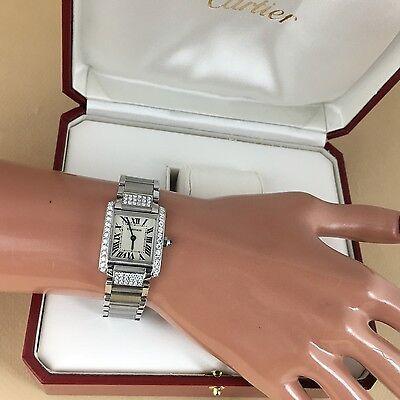 Cartier Tank Francaise Steel Ladies Watch 2384 Quartz with  Diamond bezel w/Box