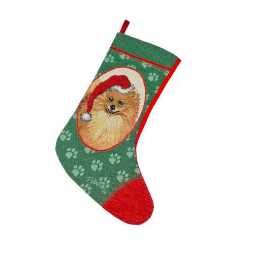 Pomeranian Tapestry Christmas Stocking ~ Artist, Linda Picken