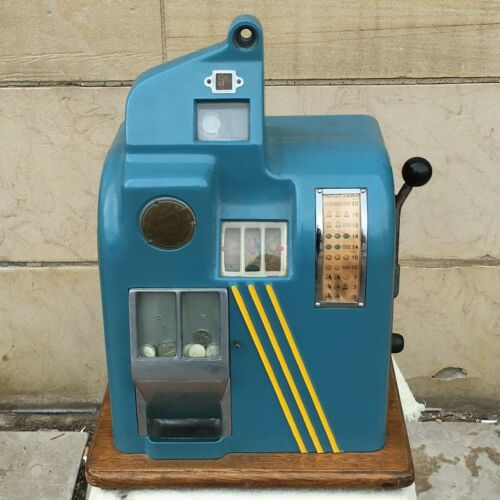 Vtg Groetchen Columbia Table Top Mechanical 5 Cent/Nickel Slot Machine -Works!