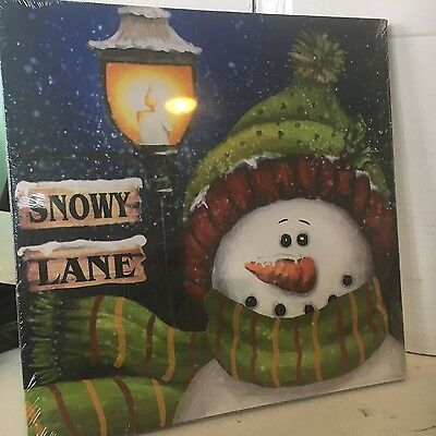 Snowman w Streetlight Photo on Canvas w Led Lights Wall Art Christmas Decor