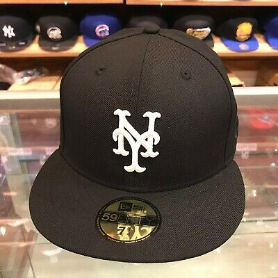 New Era Fitted Wool - New Era 59fifty New York Mets Fitted Hat Cap Black/White/Grey Bottom/100% Wool