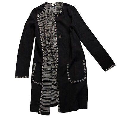 Vintage Missoni M Women's Italy Rare Knit Black Long Cardigan Sweater 40 US 4