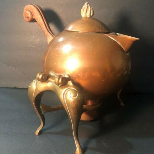 Vintage/Antique Copper Tea Pot Kettle w/ Burner Warmer Stand