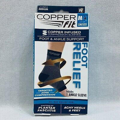 Copper Fit - Copper Compression Sleeve Foot & Ankle Support Foot Relief - Medium