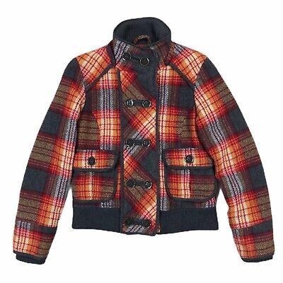 BKE Wool Blend Quilted Jacket Womens Size Medium Tartan Plaid Orange Red Gray Wool Women Jacket