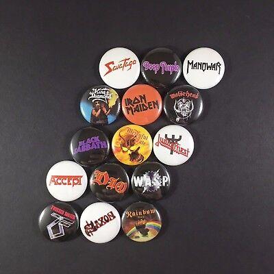 "Heavy Metal 1"" Button Pin Lot Iron Maiden Judas Priest WASP Accept King Diamond"