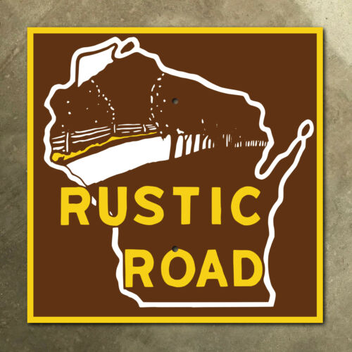 Wisconsin rustic road highway marker sign scenic route 1973 rural recreation