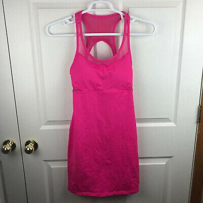 Women's Fabletics Tropez Dress Hot Pink Size Medium Mesh Cut outs Built in Bra