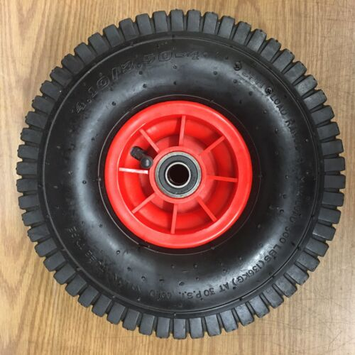 """NEW 10"""" Pneumatic Tire on Red Sporty Wheel with 5/8"""" ID Bearings - 4.10/3.50-4"""