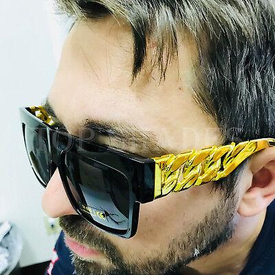 Fashion Square Frame Chain Style Arms Designer Flat Top Men NEW Big Sunglasses
