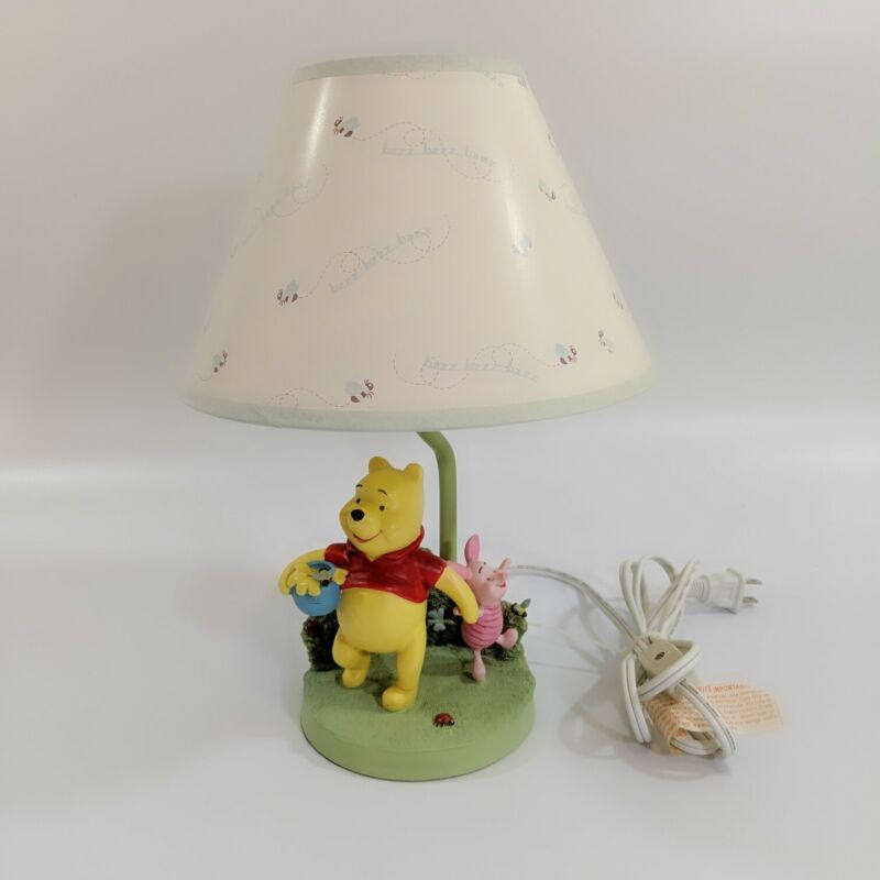 """Winnie the Pooh and Piglet 13"""" Lamp w Shade Tested and Working see description"""