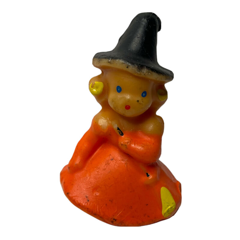 """VTG Gurley Orange Witch Halloween Candle 3"""" Tall"""