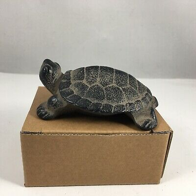 Japanese Cast Iron Hisabi Turtle Figurine Statue Paperweight Home Garden Decor