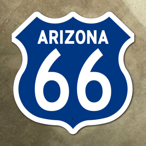 Arizona US route 66 highway marker sign mother road 1960 blue Flagstaff 16 x 16