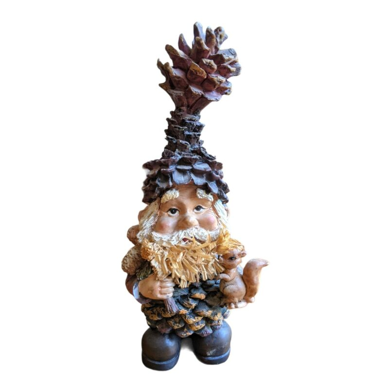 Forest Pinecone Hat Gnome Figure with squirrel Made In Italy Les Alpes