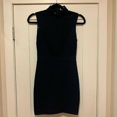 Elizabeth and James Mock Neck Navy Blue Mini Dress Cut Out Accent Size 2 Accent Mini Dress