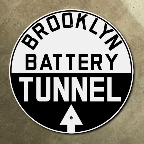 New York Brooklyn Battery Tunnel highway marker road sign 1950