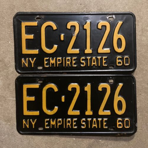 1962 New York license plate pair EC 2126 YOM DMV clear 1963 Ford Chevy Plymouth
