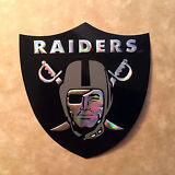 OAKLAND RAIDERS CHROME REFRACTOR EMBOSSED ALUMINUM STICKER/DECAL RAIDER NATION