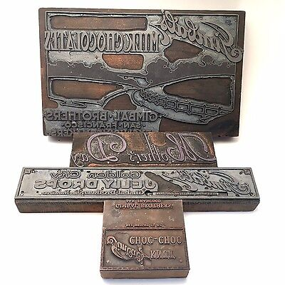 Vintage Wood Printing Blocks Gimbal Brothers San Francisco 4 Plates